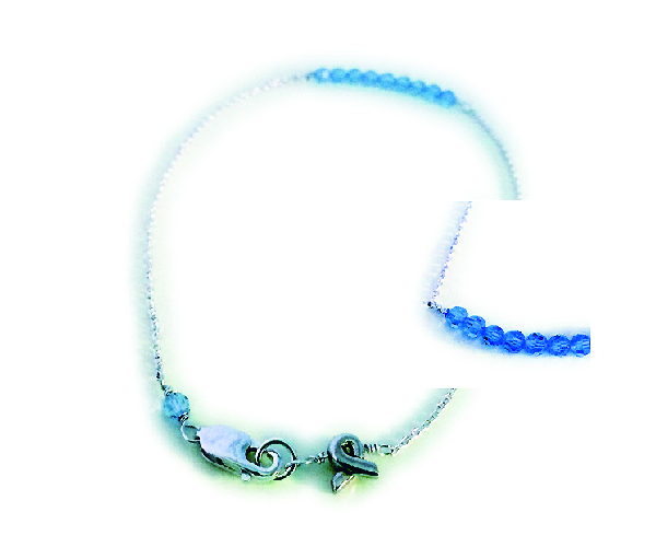 Light blue beads with a Ribbon Charm shown on this anklet - DBL-Ank-Ribbon-3