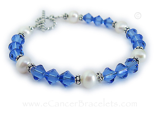 Colon cancer bracelet with Pearls