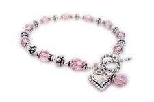 Cancer Awareness Heart Bracelet