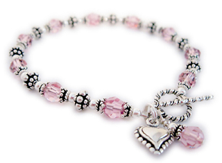 Cancer Awareness Heart Bracelet with Charms