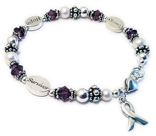 Courage Hope Survivor Bracelet with Ribbon Charm