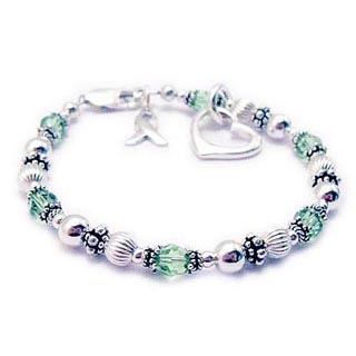 Green Ribbon Charm Bracelet for Cancer Survivors. Shown with an open heart charm and ribbon charm. CBB-R49