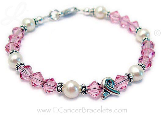Breast Cancer Charm Bracelet with Ribbon Charm Bracelet