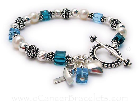 Cancer ribbon bracelet with 2 cancer colors and a ribbon charm.