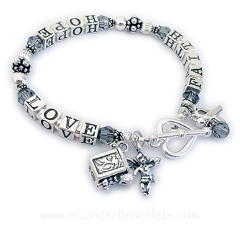 Grey Ribbon Bracelet - Brain Cancer Awareness Jewelry shown with 2 add ons - a prayer box charm and an angel charm. The ribbon charm and crystal dangle are included in the price. CBB-R23