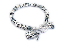 Brain Cancer Awareness Bracelet with angle and prayer box charm