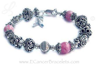 Sterling Silver Bali style and Pink Rhodochrosite Bracelet
