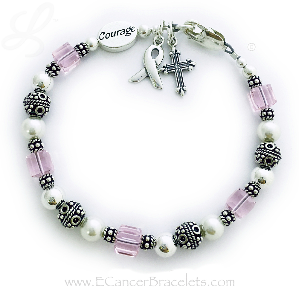 Breast Cancer Courage Bracelet (shown with add-on COURAGE bead) Pink Breast Cancer Ribbon Bracelet includes Ribbon. They added a COURAGEE bead and a Fancy Cross Charm. They picked a beautiful simple Lobster Claw Clasp.