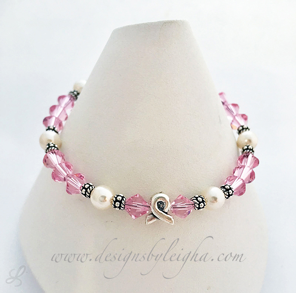 Breast Cancer Bracelets with Ribbon Beads and Pearls - CBB-R48
