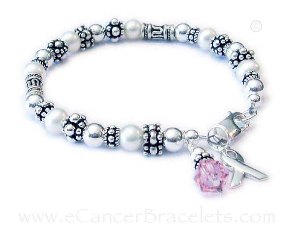 Breast Cancer Survivor bracelet with Survivor Ribbon Charm -CBB-R42-Sterling Silver