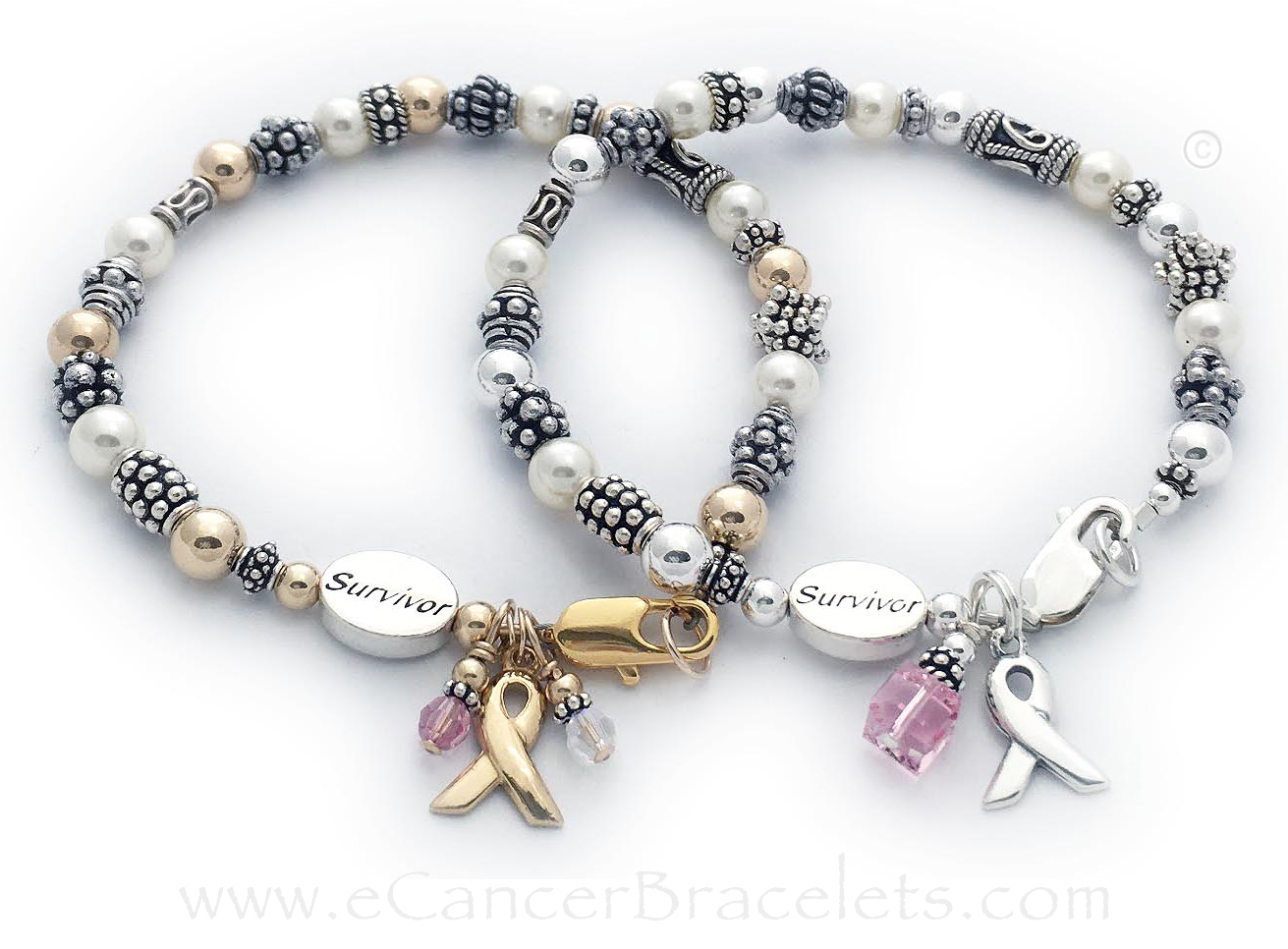 Gold Breast Cancer Survivor Bracelet and a Sterling Silver Breast Cancer Survivor Bracelet