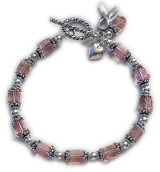 Sterling Silver Pink Swarovksi crystal Ribbon Bracelet - CBB-R28