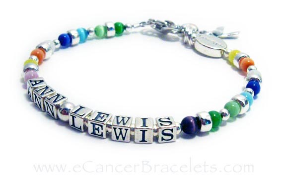 Cancer Bracelet with all Cancer Colors in Cats Eye Beads