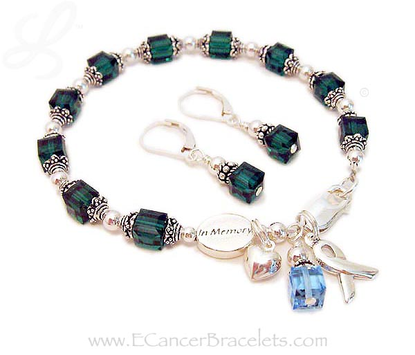 Donor Cancer Bracelets with earrings, an in memory bead, Puffed Heart charm and ribbon charm. CBB-R28
