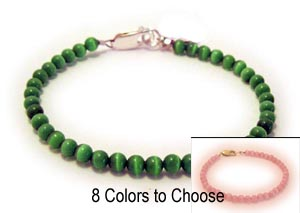 Green Donor Bracelet with Cat's Eye Beads and a sterling silver clasp. - CBB-R42S