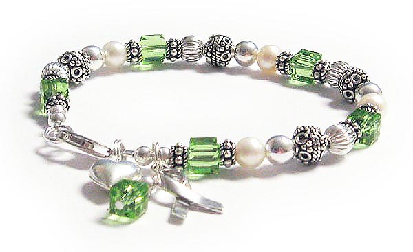 Light Green Lymphoma Bracelet with Heart and Ribbon Charm and Green Crystals - CBB-R25