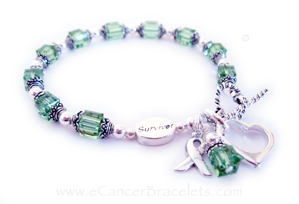 Lymphoma SURVIVOR  Ribbon Bracelet with Ribbon Charm and Open Heart charm