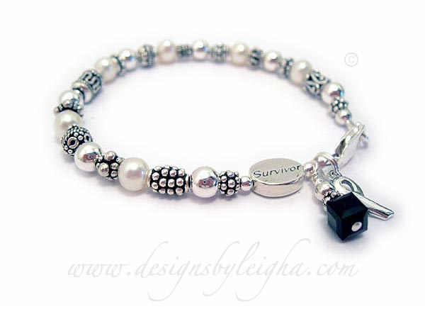 Melanoma Survivor Bracelet with Survivor Bead and Ribbon Charm