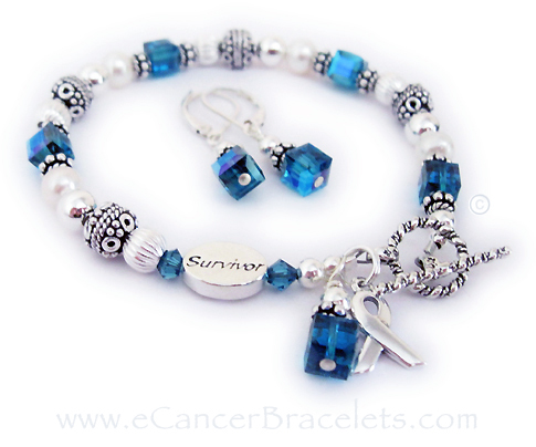 Uterian Cancer Bracelet shown with a survivor bead and earrings.
