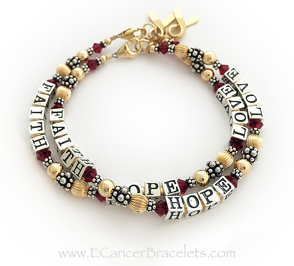 2 Red Ribbon Charm Bracelets with gold ribbon charms and FAITH HOPE LOVE written on both bracelets. CBB-R22