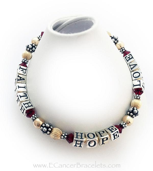 Red Gold Faith Hope and Love Ribbon Bracelet - CBB-R21
