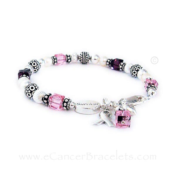 CBB-R2 Migraine & Breast Cancer Awareness Bracelet. This bracelet is show with dark red and pink crystals. It is shown with an add-on Survivor bead.