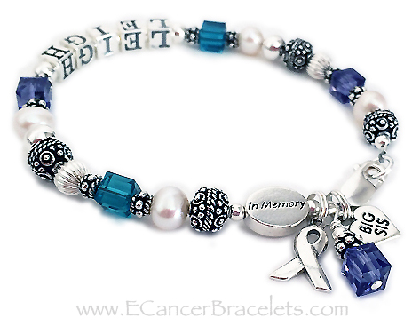 Suicide prevention and awareness In Memory of Leigh - Big Sis Charm - Suicide prevention and suicide awareness colors are generally teal and purple.  Item CBB-R25