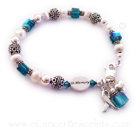 In Memory Teal Ribbon Bracelet with Heart Charm