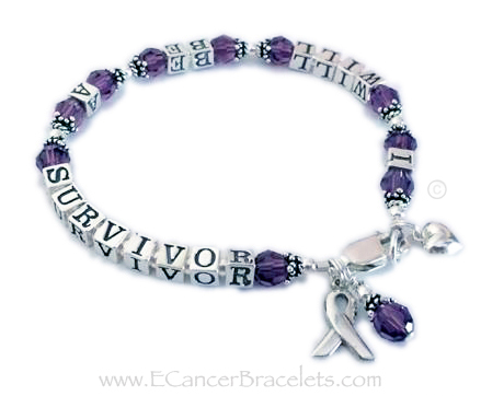 Pancreatic Cancer Ribbon Bracelet - DBL-Message-Bracelets-5.5mm  I will be a survivor bracelet with purple beads and a sterling silver lobster claw clasp. They added 3 charms to their order: Ribbon Charm, Crystal Dangle and a Small Puffed Heart Charm.