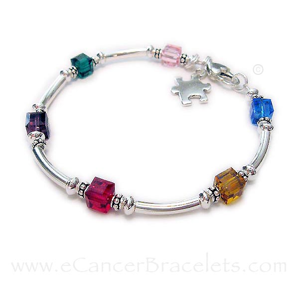 Autism Awareness Bracelet with Puzzle Piece Charm - Autism Spectrum Disorder Jewelry