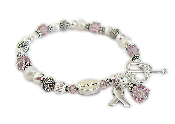 General Cancer Awareness Bracelet with Survivor Bead - June Violet Ribbon symbolizes Craniosynostosis awareness, Epilepsy awareness, Gynecological Cancer, Hypokalemic Periodic Paralysis, Infantile Spasms, Rett Syndrome