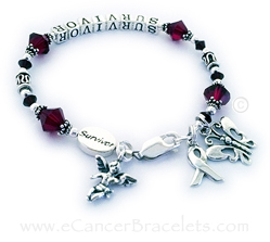 Red Ribbon Bracelet with an Angel Charm