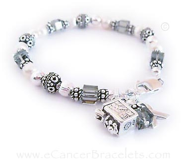 Brain Cancer Awareness Bracelet with Prayer Box Charm and Ribbon