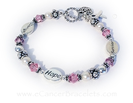 Courage Hope Survivor Breast Cancer  with a ribbon charm. Shown with an add-on MOM filigree charm and our free twisted toggle clasp. CBB-R54