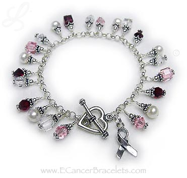 Breast Cancer bracelet with pink and red crystals and pearls