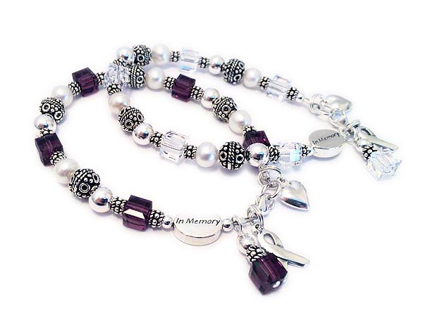 Purple Ribbon Bracelet and Clear Ribbon Bracelets both with In Memory beads on the BraceletsCBB-R25. Also shown with Ribbon Charms, Heart Charms and Crystal Dangles - any size - free shipping