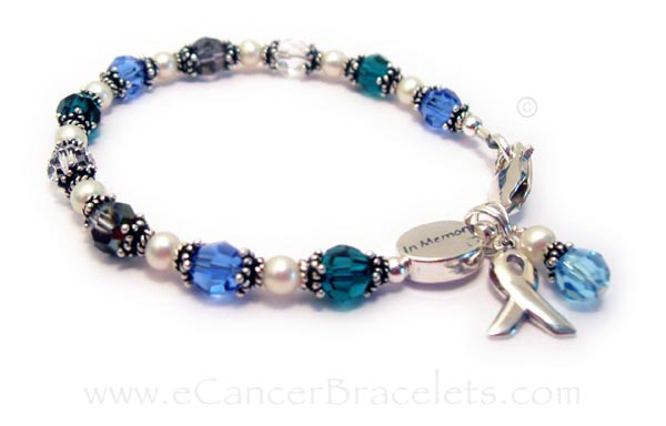 CBB-R31 Kidney Cancer (green), Colon Cancer (blue), Brain Cancer (grey), Lung Cancer (clear) Ribbon Bracelet with add-on IN MEMORY bead with Lobster Claw clasp closure. Crystals: ROUND