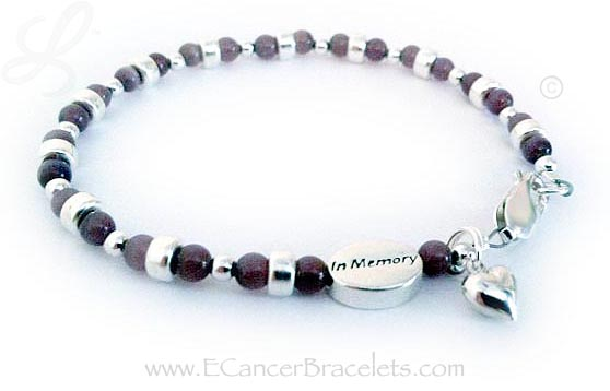 Pancreatic Testicular and Thyroid Cancer Bracelet with all Cancer Colors in Cats Eye Beads shown with an IN MEMORY bead and a heart charm.