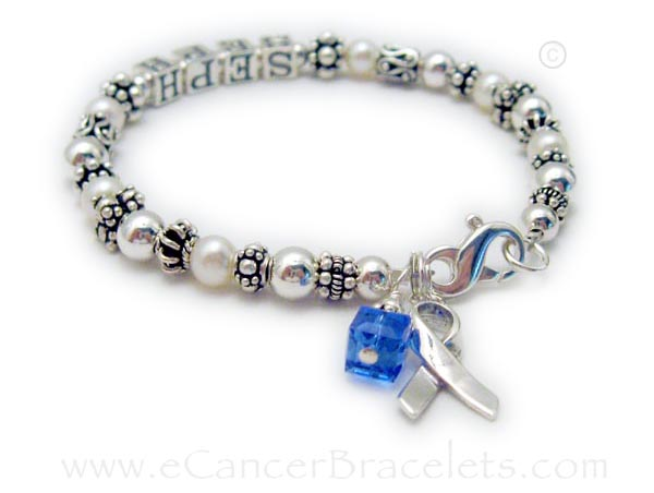 CBB-R42 Colon Cancer Blue Ribbon Bracelet  Shown with a name and September/Blue Swarovski crystal & Ribbon Charm & lobster claw clasp.