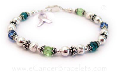 multi color cancer awareness bracelet - you pick the colors - CBB-R49