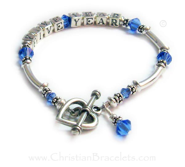 CBB Ribbon 37  Here is a Colon Cancer Bracelet signifying a FIVE YEAR Survivor!  They added a Sterling Silver Heart Toggle Clasp.