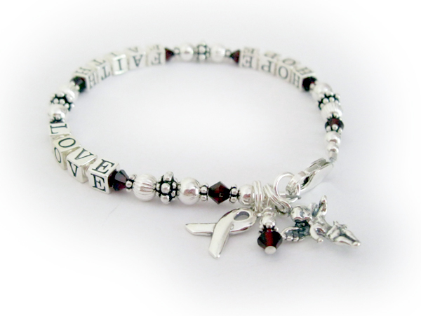 HOPE FAITH LOVE bracelet with ribbon and angel charms