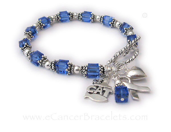 Colon Cancer Survivor Bracelet with 2 add-on charms: #1 Cat and a Puffed Heart Charm