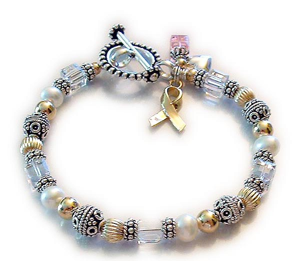 Beaded Toggle Clasp Breast Cancer Ribbon Bracelet
