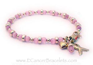 Gold Breast Cancer Survivor Ribbon Charm. Shown with an added Gold Heart Charm. CBB-Ribbon 44