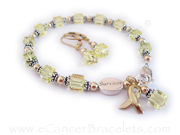 Yellow ribbon bracelet -Yellow Swarovski crystals symbolize military support, MIA/POW, suicide prevention, adoptive parents, bladder cancer, spina bifida, endometriosis and Sarcoma/bone cancer. Yellow is also a symbol of Hope.
