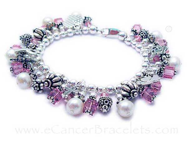 Charm Bracelet with lots of breast cancer charms and dangles