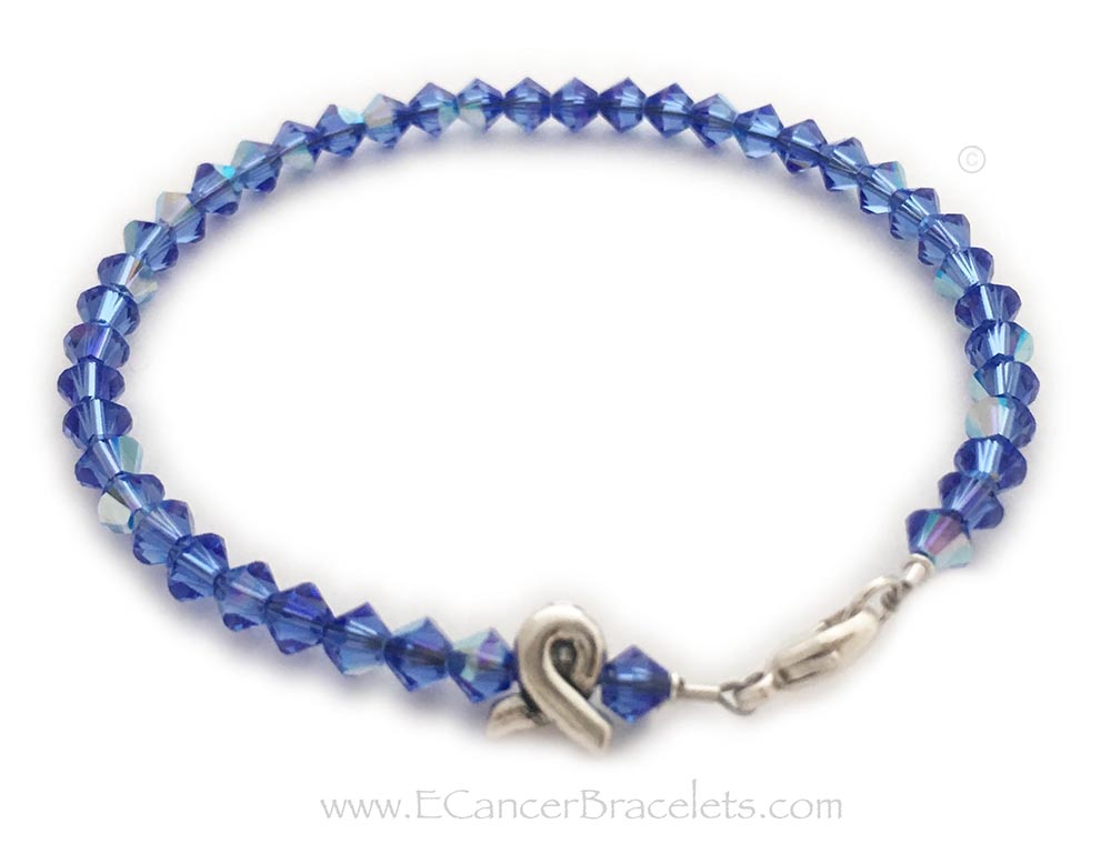 Colon Cancer Awareness Blue is shown on this Ribbon Bracelet. You have 18 colors to choose from. The ribbon bead is included in the price.