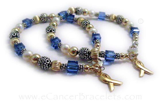Gold and Pearl Colon Cancer Friendship Bracelets CBB-R26 with a gold ribbon charm.