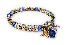 Colon Cancer FAITH HOPE LOVE Bracelet with Ribbon Charms